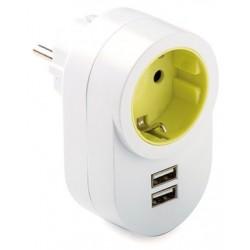 ADAPTADOR TT LATERAL  16A-250 + 2 USB