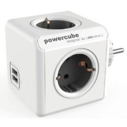 POWERCUBE ORIGINAL 4 TOMAS + 2 USB GRIS