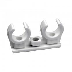 Abrazadera polipropile.doble m-6 ø18mm
